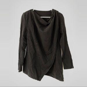 Hanes Black Asymmetric Draped Sweatshirt Tunic